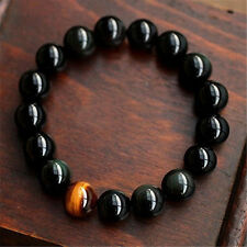 New Fashion Men Women 8MM Natural Agate Tiger Eye Beads Bangle Bracelet
