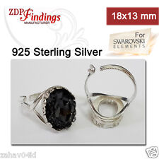 18x13mm Sterling Silver 925 Oval Adjustable Locking Ring Bezel Cups for Setting