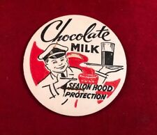Vintage Chocolate Milk Bottle Cap Smiling Man Seal On Hood Protection Red White