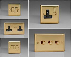 Varilight Classic Victorian Brass Effect Range - Black Inserts & Brass Switches