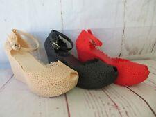 "Jelly Wedge ""Sanibel"" Women's Platform Peep Toe Ankle Strap 5-10 - Ann More"