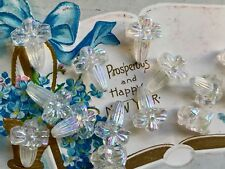 Vintage Lucite Flower Beads, Austria 18x13 AB Crystal Beads, Shabby Chic, #B86