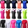 Womens Athletic Workout Yoga  Running Vests T-shirt Moisture Wicking Sportswear