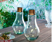 Set of 2 solar bulb shape shaped led light hanging free standing garden glass