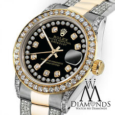 Ladies Rolex Oyster Perpetual Datejust 26mmCustom Diamonds Dial Black String