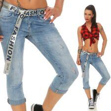 Damen Slim Fit Stretch Capri Jeans Hose Röhre halblang 34 36 38 40 42 blau