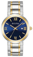 Bulova Men's Quartz Calendar Blue Dial Two-Tone Bracelet 40mm Watch 98B283