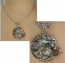 Handmade Vintage Silver Alice in Wonderland Pink Eat Me Cameo Necklace New