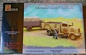 Pegasus 1/72 WWII German Army Truck Model Kit 2 Trucks Snap Together NEW 7610