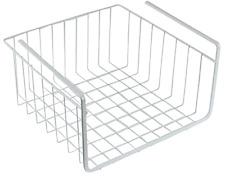 """10"""" Southern Homewares White Wire Under Shelf Storage Organization Basket Rack"""