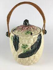 Vintage biscuit cookie jar flowers wicker handle Japan