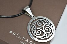 Silpada S1230 Sterling Silver Celtic Knot Round Pendant Leather Necklace N1128
