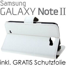 Samsung Galaxy Note 2 n7100 flip case Wallet Book Style funda soporte blanco