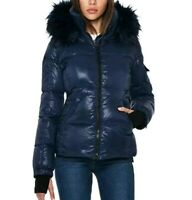 S13 New York Kylie Faux Fur Down Puffer Hooded Jacket Navy Blue Sz M NWT SAM