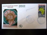 MAURITANIE AERIEN 55  PREMIER JOUR  FDC  ORGANISATION UNITE AFRICAINE  100F 1966