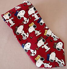 "Peanuts Snoopy ACE OF CLUBS Silk Neck Tie Golf Club Hat Cap Golfing Red 4"" Wide"
