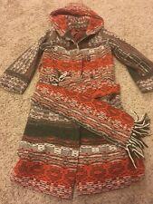 Vintage union ILGWU Trench Coat Navajo native style jacket scarf belt Xs-s 2-4