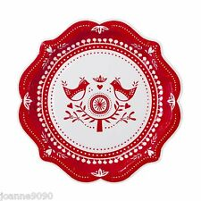 PARTY PAPER PLATES RUSSIAN CHRISTMAS FOLK BIRDS RED WHITE HOME DECORATION