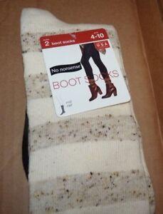 NEW 2 Pair Boot Socks Black/Pearl Oyster Stripe Tweed Size 4-10 Women NWT