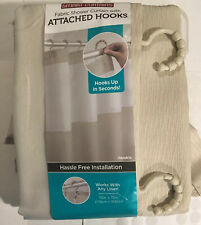 Maytex Smart Hendrix View Fabric Shower Curtain with Attached Roller Glide Hooks