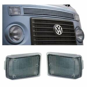 VW Bus Type 2 COMPLETE Assembly Turn Signal Light 2pcs pair Clear White 73-79 T2