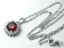 Women's White Gold plated Red Crystal necklace