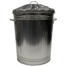 Metal Galvanised Bin Waste Rubbish Garden Large Dustbin Storage Lid 90 litre 90L