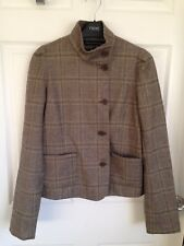 Ladies Brown Checked Wool Blend French Connection Short Jacket - Size 8