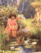 New listing Margaret Tarrant Postcard Water Lilly Pond Fairy Child Lilly Lily Pond Medici