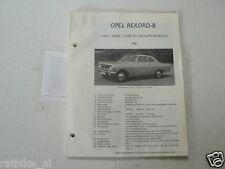 O53--OPEL REKORD B 1966 CAR-A-VAN,COUPE,SEDAN,COACH ,TECHNICAL INFO CAR