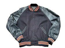VINTAGE Holloway XL varsity letterman jacket  wool leather coat navy blue orange