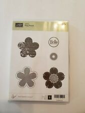 Stampin Up POSY PUNCH Cling Stamp Set ~ Flower Hello Writing Pattern Hostess Set