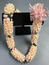 Hawaiian Ivory Colored Ribbon Pikake Lei Mauve Light Pink Rosebud Luau Gift