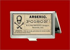 ARSENIC POISON VINTAGE MEDICINE SKULL LABEL DOCTOR ID BUSINESS CARD HOLDER CASE