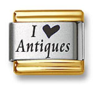 Italian Charm Bracelet Links Laser I Heart Antiques Gold Trim Stainless Steel