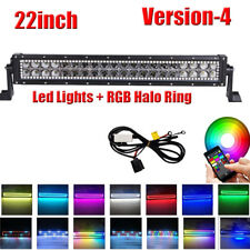 22Inch LED Light Bar Offroad Driving with Wireless RGB Halo Ring Change Chasing