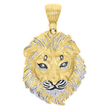 "Face Texture Pendant 2"" Charm 0.03 Ct Solid 10K Yellow Gold Genuine Diamond Lion"