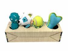 Animal Planet Dog Toy 4 Pack Play Set Hidden Squeaker Tennis Ball Rope Bone NIB
