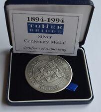 More details for 1894 1994 tower bridge silver centenary medal box + coa 152 grams