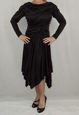 Vintage 80s Gilberti USA Black Cocktail Dress Size 14 Ruched Evening Dress