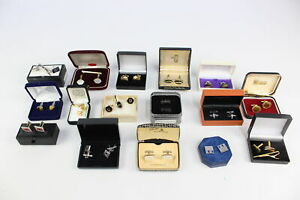 16 x Vintage & Retro Gents Boxed JEWELLERY inc Cufflinks, MOP, St Justins Pewter