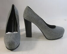 "Gray/Black 5"" High Block Heel 1.5"" Platform Sexy Shoes Size 8.5"