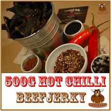 BEEF JERKY SAVOURY SNACK FOOD 500G BULK HOT CHILLI AUSTRALIAN DELICIOUS FLAVOUR