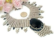 Costume Jewelry Vintage Style Husar D  Black Glass Clear  Rhinestone Necklace