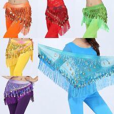 Multi-Color Women Girl Belly Dance Costume Gold Coins Tassel Hip Warp Scarf Belt