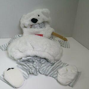 Infant Polar Bear Costume Sleeveless Vest Striped Tee & Pants Booties Sz 6-12 mo