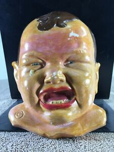 VINTAGE PLASTER OF PARIS CHALKWARE CRYING BABY FACEMARKED C WALL HANGING