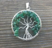NATURAL JADE TREE OF LIFE  WIRE WRAPPED PENDANT STONE GEMSTONE