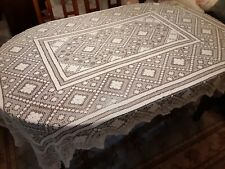 "Rare Vintage Ivory Open Weave TABLECLOTH 78"" x 56"" Rectangle Shape - Unique!!"