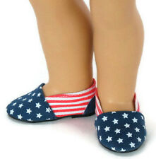 "Patriotic Canvas Slip On Shoes made for 18"" American Girl Doll Clothes"